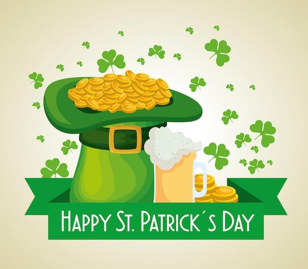 黄金のコインとビールのグラスと聖パトリックの日の帽子