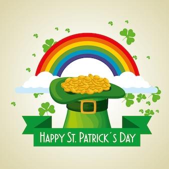 ゴールドコインと虹と聖パトリックの日の帽子