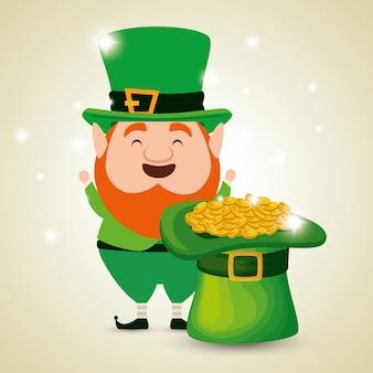 帽子と黄金のコインを持つ聖パトリックの日のエルフ