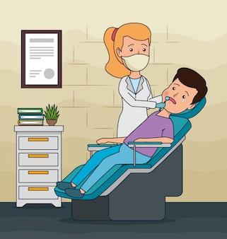 Стоматолог женщина и пациент диагностика лечение