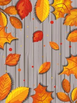 Картина осени с листьями в деревянном
