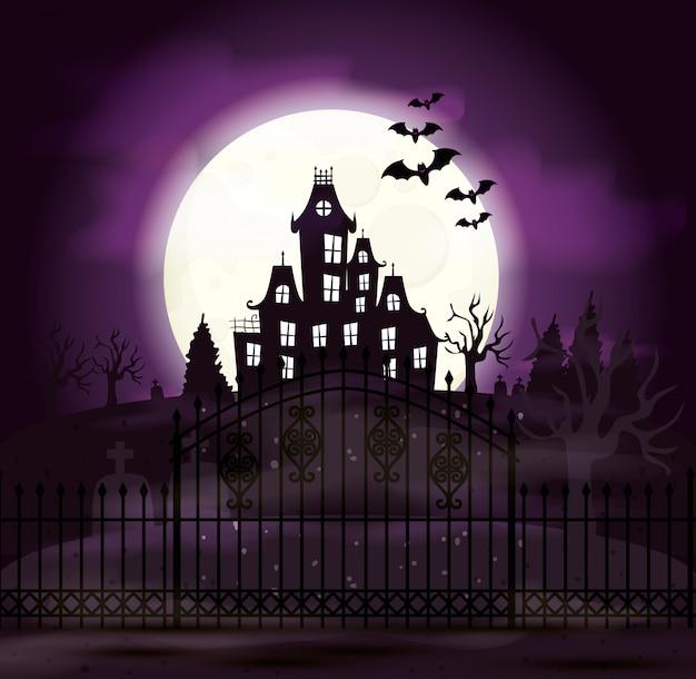 Замок с привидениями с кладбищем и иконами в сцене хэллоуина