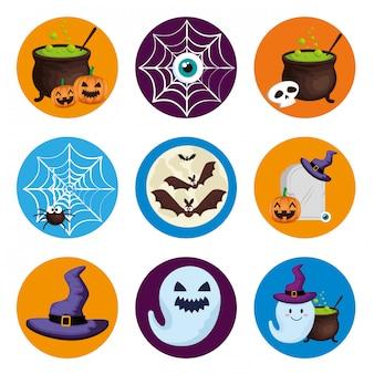 Хэллоуин элементы набора