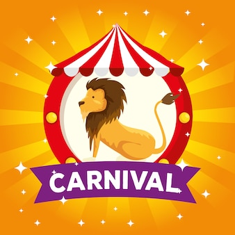 カーニバルリボンとサーカスのライオンの野生動物のラベル