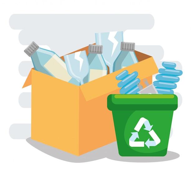 ペットボトルでゴミを箱に入れてリサイクルし、電球を節約する