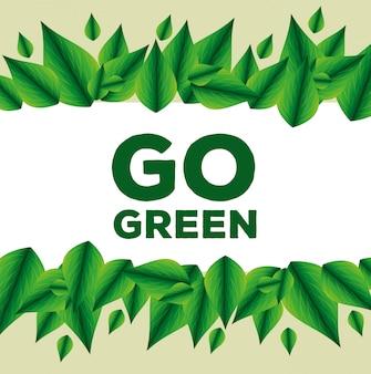 葉の装飾と生態保護メッセージ