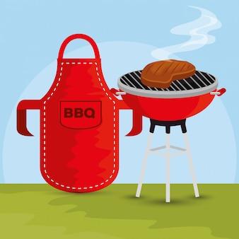 バーベキューの準備とエプロンの肉グリル