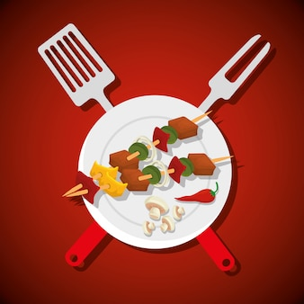 肉とキノコのソーセージとバーベキューツール