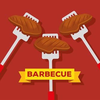 スライスした肉とバーベキューの準備