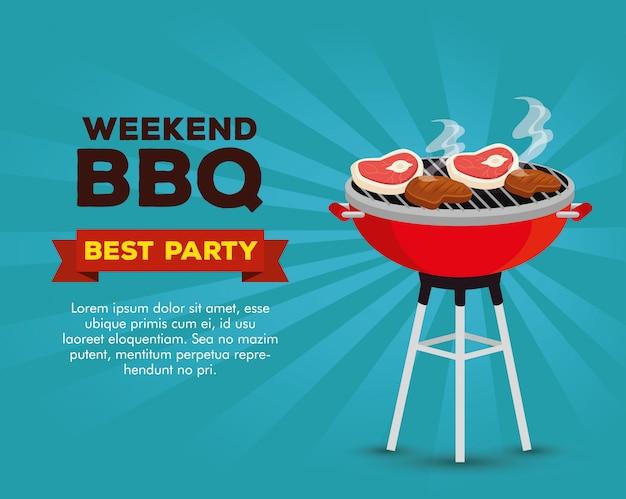 Приглашение на вечеринку барбекю на выходные