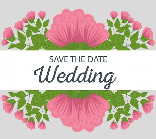 Свадебный плакат с украшением цветами растений