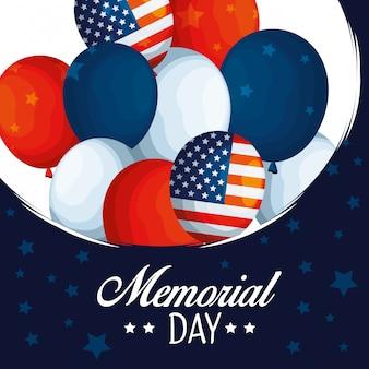 伝統的な記念日にアメリカの気球旗