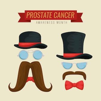 帽子と口ひげを持つメガネの男性を設定します