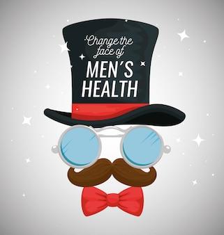 メガネと口ひげを持つ男性の帽子