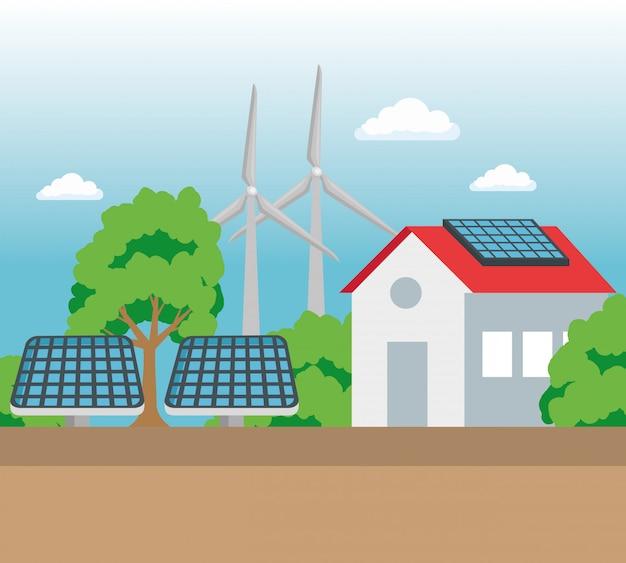 エコロジー保全のための太陽光と風力エネルギーのある家