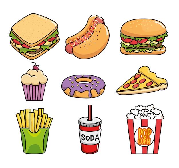 Стикеры быстрого питания поп-арт