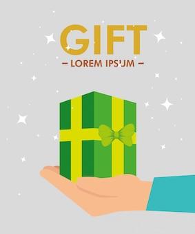 手にプレゼントをプレゼント