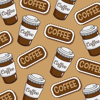 コーヒーショップステッカーポップアート