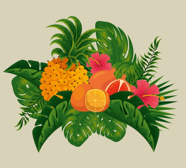 Ананас с апельсиновыми и гранатовыми плодами в листьях