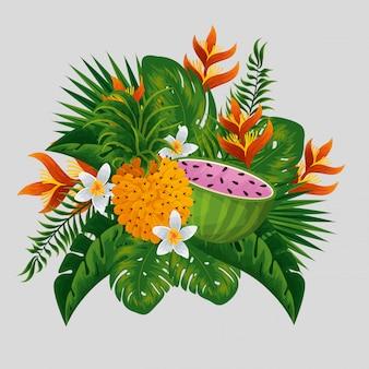 Тропические фрукты с экзотическими цветами и листьями