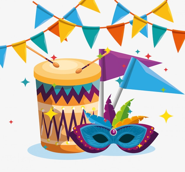 Барабан с флагом и маской украшения с перьями на карнавал