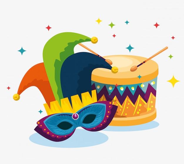 Джокер шляпа с маской украшения и барабан к карнавалу