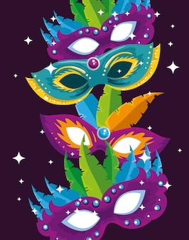 Карнавальные маски с перьями украшения к традиционному фестивалю
