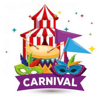 Фестиваль цирка с украшением масок и барабаном к традиционному карнавалу