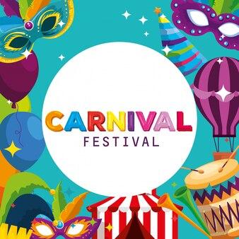 Карнавальная этикетка с традиционным фестивальным украшением для вечеринки