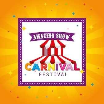 フェスティバルサーカスとカーニバルのお祝いにリボン付きの正方形のラベル