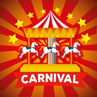 Карнавал веселая карусель и звезды с ленточным декором