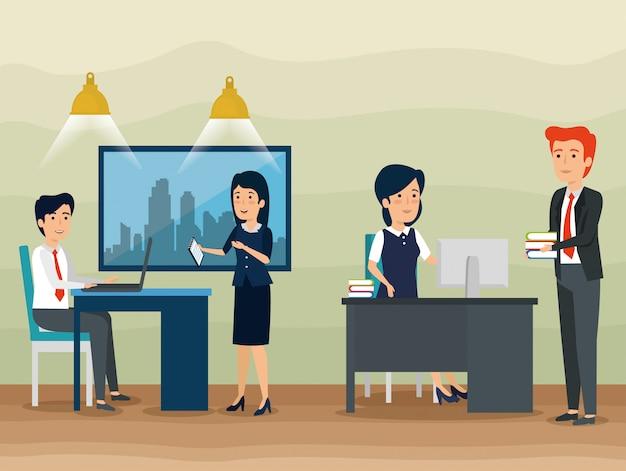 オフィスでのビジネスマンのチームワーク