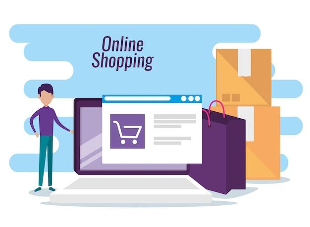 ショッピングのウェブサイトを持つ男
