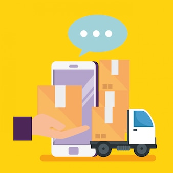 Интернет-магазин со смартфоном и пакетами с доставкой