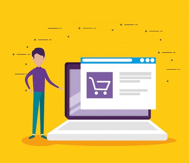 男のラップトップ技術とウェブサイトの市場販売