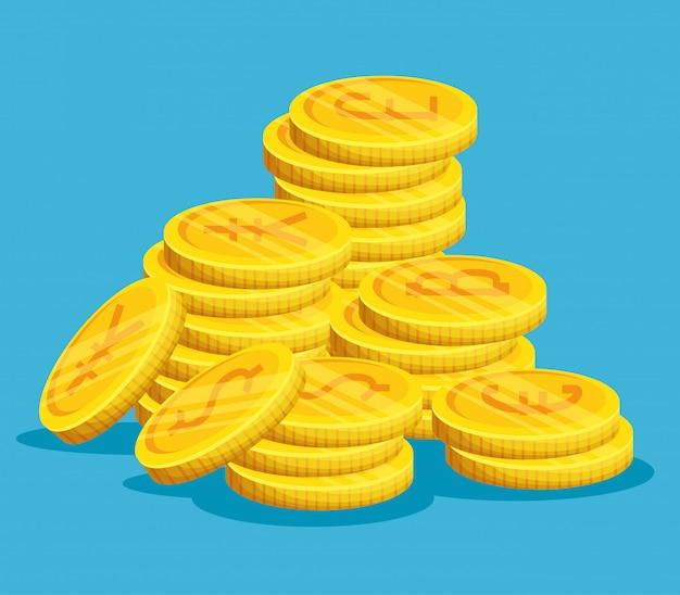Золотые монеты сложены