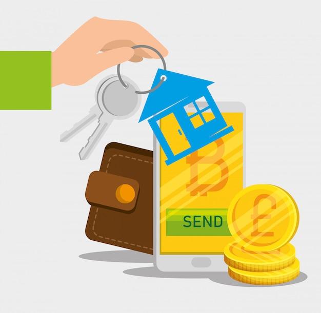 Смартфон с виртуальной биткойн валютой и ключами