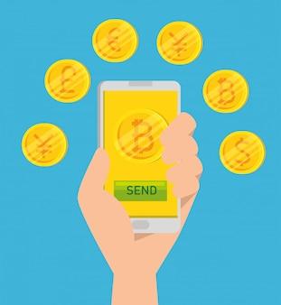 スマートフォンで仮想のビットコイン通貨