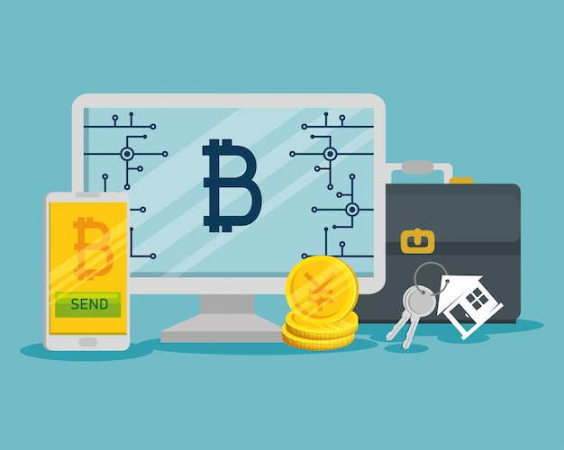 Виртуальная валюта биткойн в компьютере и смартфоне