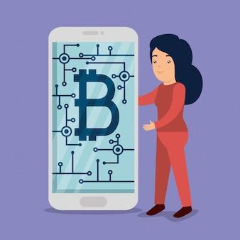 ビットコインのスマートフォンを持つ女性