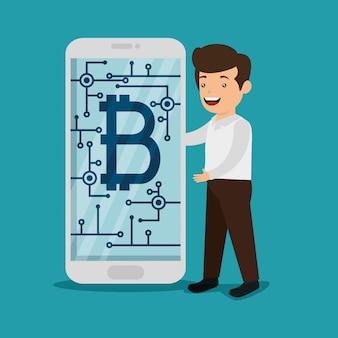 電子ビットコイン通貨を持つスマートフォンを持つ男