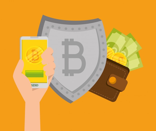 ビットコイン通貨と請求書付きシールド付きスマートフォン