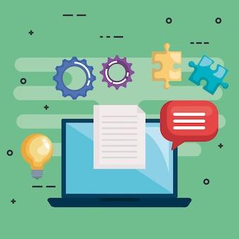 Ноутбук с головоломкой, документом, лампочкой и речевым пузырем
