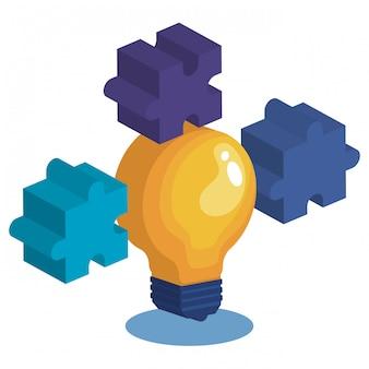 Лампа с кусочками головоломки