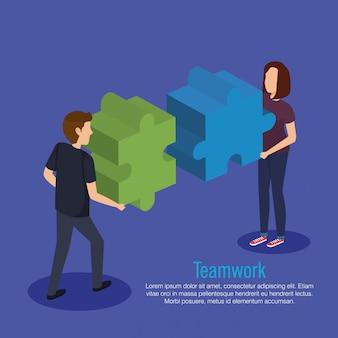 Пара совместной работы с кусочками головоломки
