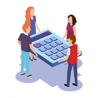 電卓と人々のチームワークのグループ