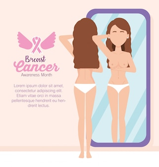 Женская фигура перед зеркалом рака молочной железы