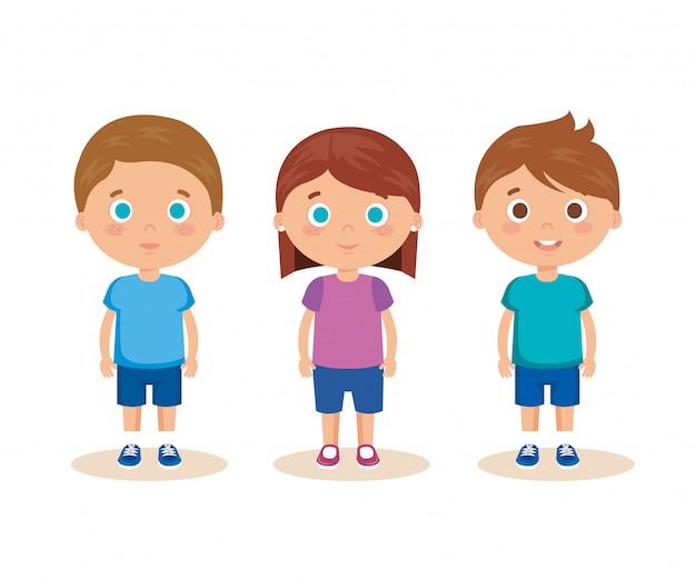 小さな子供たちのキャラクターのグループ