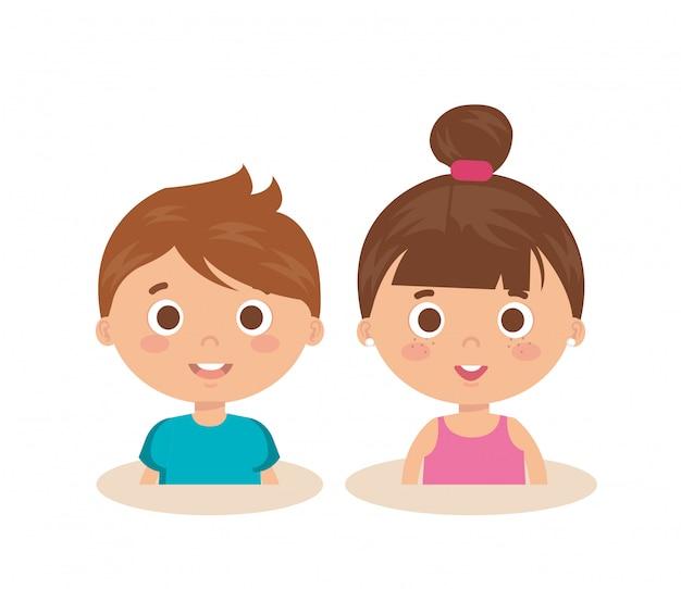 カップルの小さな子供たちのキャラクター