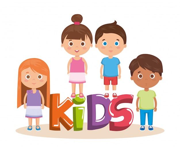 単語のキャラクターと小さな子供たちのグループ